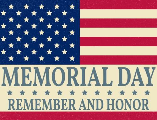 2018 Memorial Day Schedule